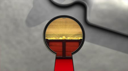 doubloon : Treasure in keyhole. 3D animation.