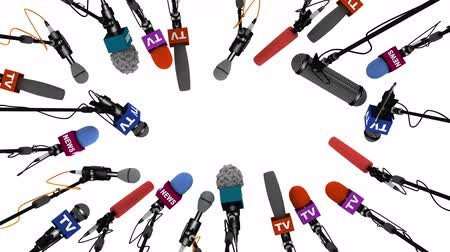 falar : Boom pole microphones on white background with alpha channel, 3D animation