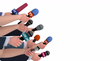 multimediální : Eager reporters with microphones, side view, 3D animation, alpha channel