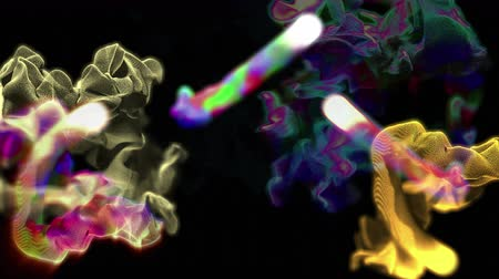 variegado : Multiple quick streams of colorful particles, 3D animation, looping