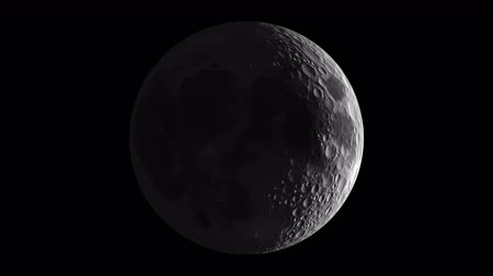 fáze : Moon Phase and Libration, 3D simulation, seamless loop.