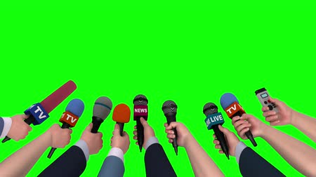 общественный : Microphones in the hands of journalists on green background, 3D animation Стоковые видеозаписи