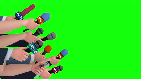 hírnév : Journalist interview with microphones, side view, 3D animation, green screen Stock mozgókép