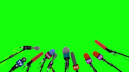 falar : Press and media conference microphones animated on green background Vídeos