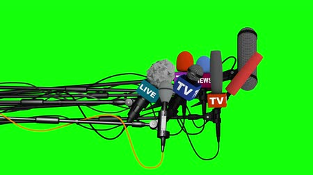 вещание : Microphones prepare for press conference, side view, 3D on green backdrop
