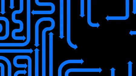 pursuit plane : Maze of blue arrows on black background, seamless loop, CG animation