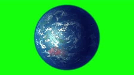 зеленый фон : Earth s rotation on green background, seamless loop, 3D animation.