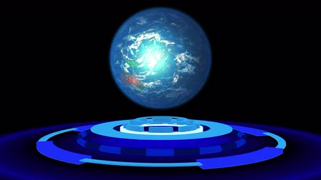 техно : Abstract 3D animation with blue circles and with Earth.