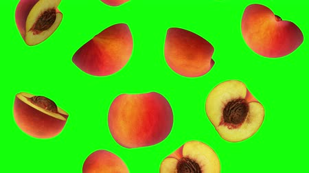 şeftali : Halves of peach falling on green screen, seamless loop, CG