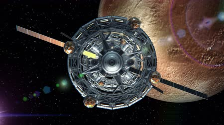 chroma key background : Front view of Spaceship on background of Pluto Stock Footage