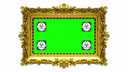berrante : Camera zoom into the gold picture frame on white background, motion tracking markers, green screen