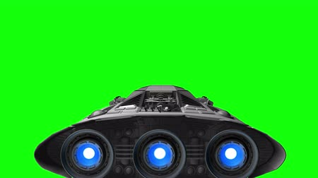 lüktet : Spacecraft with pulsate engines on background of green screen, 3d animation