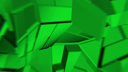 curvature : Green abstract polygonal broken shapes fluctuate seamless loop. 3D animation.
