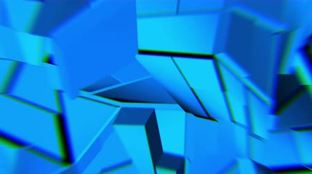 flexure : Blue abstract polygonal broken shapes fluctuate seamless loop. 3D animation.