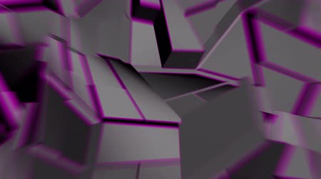 curvature : Dark gray abstract polygonal broken shapes with lilac edges fluctuate seamless loop. 3D animation. Stock Footage
