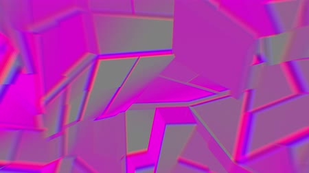 колебание : Gray-lilac abstract polygonal broken shapes fluctuate seamless loop. 3D animation.