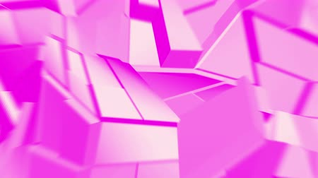 колебание : Pink abstract polygonal broken shapes fluctuate seamless loop. 3D animation.