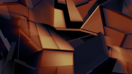 flexure : Dark golden polygonal broken shapes fluctuate seamless loop. 3D animation.