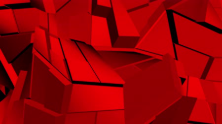 curvature : Red abstract polygonal broken shapes fluctuate seamless loop. 3D animation.