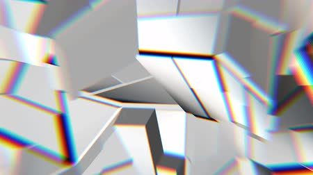 curvature : White abstract polygonal broken shapes fluctuate seamless loop. 3D animation.