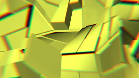 curvature : Yellow abstract polygonal broken shapes fluctuate seamless loop. 3D animation.