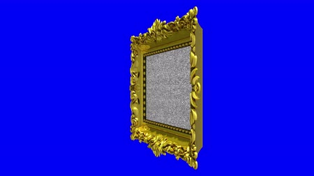 berrante : Gold picture frame rotates around on blue background, chroma key, seamless loop. 3D animation with tv noise and green screen.