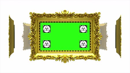 berrante : Ornate gold picture frames rotate in a circle on white background. Seamless loop, 3D animation with motion tracking markers and green screen. Alpha matte included.