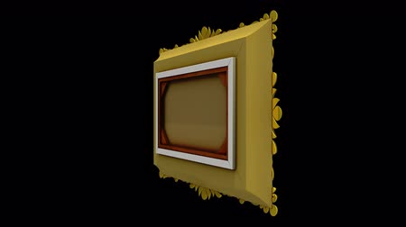 berrante : Rapid rotation of the gold picture frame on black background. 3D animation with motion tracking markers and green screen, seamless loop. Alpha matte included.