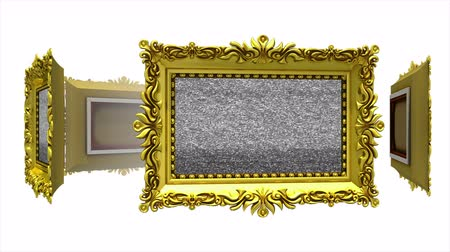 berrante : Ornate gold picture frames rotate in a circle on white background. Seamless loop, 3D animation with tv noise and green screen.