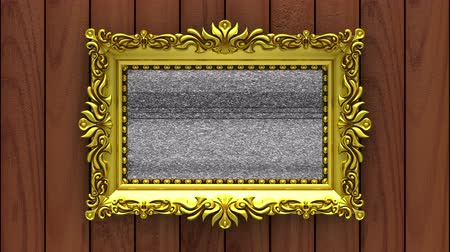 berrante : Camera moves along gold picture frames on brown wood background. Seamless looped 3d animation. Mockup with tv noise and green screen. Stock Footage