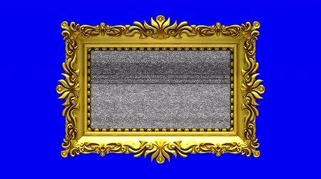 berrante : Blue screen on background. Tv noise and green chroma key plays on the screen in ornate gold picture frame. 3D animated intro.