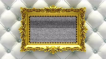 berrante : White luxury upholstery on background. Tv noise and green chroma key plays on the screen in ornate gold picture frame. 3D animated intro.
