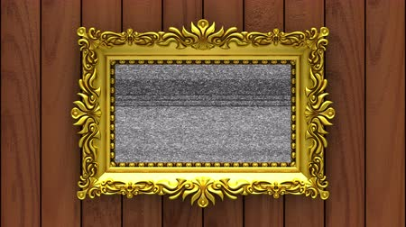 berrante : Brown wood on background. Tv noise and green chroma key plays on the screen in ornate gold picture frame. 3D animated intro.