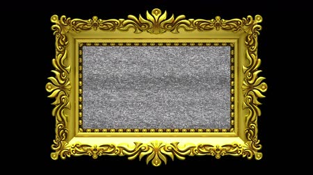 berrante : Camera zoom into the gold picture frame on black background. Tv noise and green chroma key plays on the screen. 3D animation.