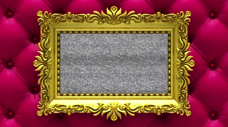 berrante : Camera zoom into the gold picture frame on background of luxury red upholstery. Tv noise and green chroma key plays on the screen. 3D animation. Stock Footage