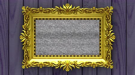 berrante : Camera zoom into the gold picture frame on background of purple wood. Tv noise and green chroma key plays on the screen. 3D animation.