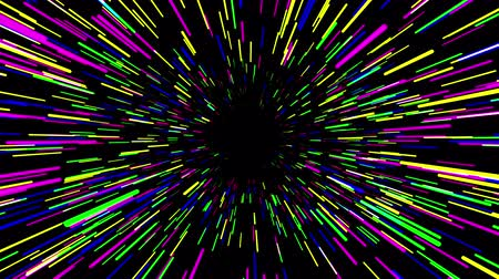 jump away : Flying trought hyperspace, multicolored abstract animation, seamless loop