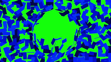 quadrate : Blue mosaic background breaks up into small pieces and reveals green screen. 3D animation, chroma key.