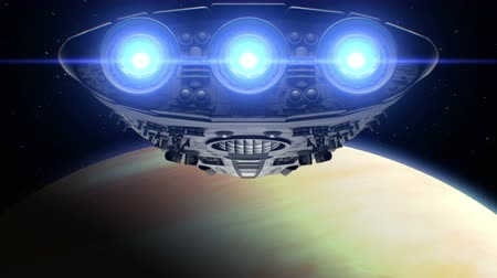 lüktet : Alien spaceship is approaching Venus. Bright engines flashing, 3d animation. Texture of the Planet was created in the graphic editor without photos and other images.