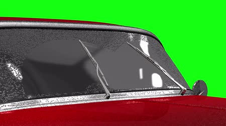 lave : Windscreen wipers on red auto 4K, seamless, alpha, green screen, blue screen. Stock Footage