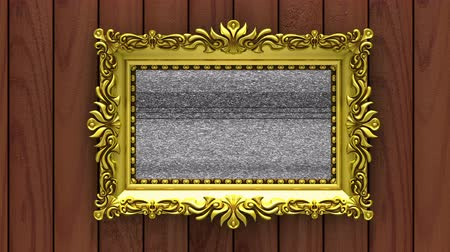 Motion along gold picture frames on brown wood background. Fruits and tv noise shows on screen. Seamless loop 3d animation.