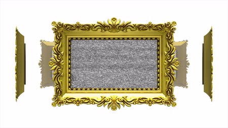 молдинг : Fruits in ornate gold picture frames rotate in a circle on white background. Seamless loop, 3D animation with tv noise.