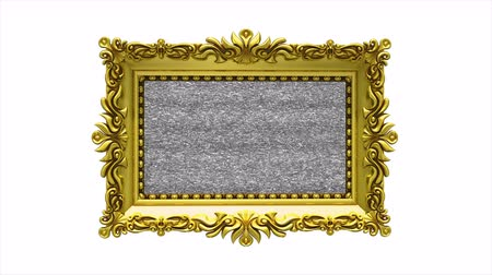 A jump in hyperspace is demonstrated in luxury gold picture frame rotates on white background. 3d animation with tv noise.