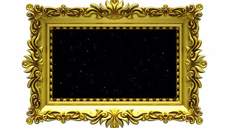 Camera zoom into the gold picture frame on white background. Hyperspace jump and Tv noise plays on the screen. 3D animation.