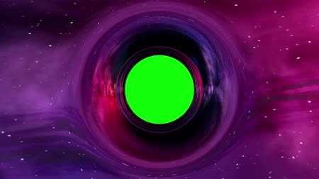 Curvature of spacetime around the black hole with green screen, seamless loop abstract 3D animation.