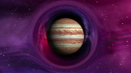 relativity : Curvature of spacetime around the Jupiter, seamless loop abstract 3D animation. Texture of Planet was created in graphic editor without photos and other images. Stock Footage