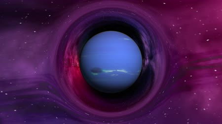 relativity : Curvature of spacetime near the Neptune, seamless loop abstract 3D animation. Texture of Planet was created in graphic editor without photos and other images. Stock Footage