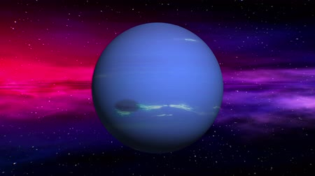 возбуждение : Movement in outer space of Neptune on abstract nebula background. Seamless loop 3D animation. Texture of Planet was created in graphic editor without photos and other images.