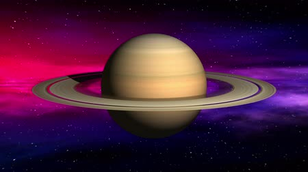 возбуждение : Movement in outer space of Saturn on abstract nebula background. Seamless loop 3D animation. Texture of Planet was created in graphic editor without photos and other images.