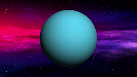 возбуждение : Movement in outer space of Uranus on abstract nebula background. Seamless loop 3D animation.